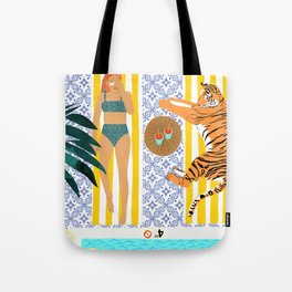 How To Vacay With Your Tiger #illustration Tote Bag