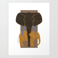 Elephant Mother and Child Art Print
