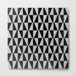 Mid Century Modern Geometric 315 Gray and Black Metal Print