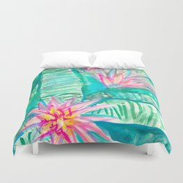 Pink Flowering Bromeliad Duvet Cover