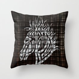 Industrial Stylized Horse Head Throw Pillow