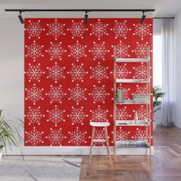 Christmas Snowflake Stars Pattern in Holly Jolly Red Wall Mural