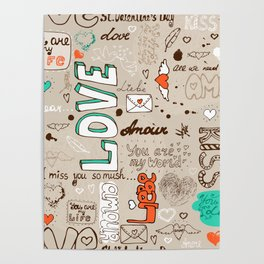 Seamless love letter pattern Poster
