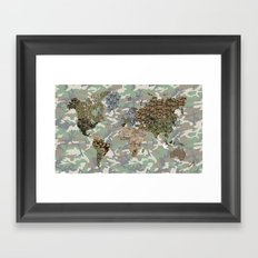 CAMO WORLD ATLAS MAP (camo) Framed Art Print