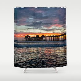 Huntington Beach Sunset  1/26/14 Shower Curtain