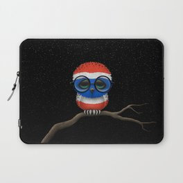 Baby Owl with Glasses and Thai Flag Laptop Sleeve