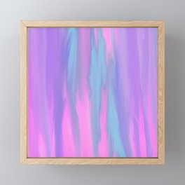 Modern abstract pink lilac teal watercolor brushstrokes pattern Framed Mini Art Print