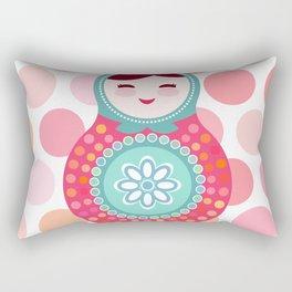 doll matryoshka, pink and blue, pink polka dot background Rectangular Pillow