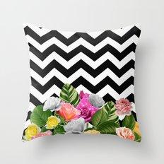 Chevron Floral Throw Pillow