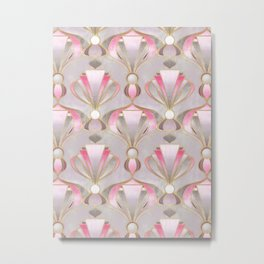Rose Pink, Grey and Gold Art Deco Metal Print