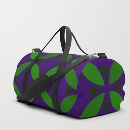 Geometric Floral Retro Circles In Bold Green & Purple Duffle Bag