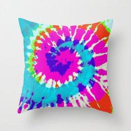 Batik Flower Power Spiral grunge Throw Pillow