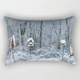Birdhouses in Winter Rectangular Pillow