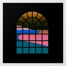 WINDOW 001: BEACH VIEW Art Print
