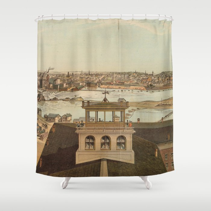 Vintage Pictorial Map Of Minneapolis MN Shower Curtain By - Vintage minneapolis map