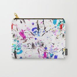 Modern pink black blue abstract paint splatters brushstrokes gold Carry-All Pouch