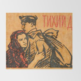 "Old Soviet Film Poster ""Quietly Flows the Don"" Throw Blanket"