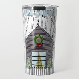 Christmas Cabin In The Snowy Woods Travel Mug