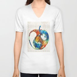 Colorful Apples by Sharon Cummings Unisex V-Neck