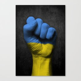 Ukrainian Flag on a Raised Clenched Fist Canvas Print