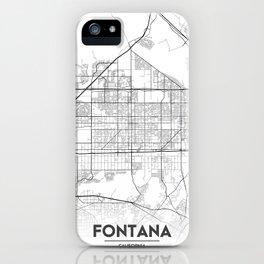 Minimal City Maps - Map Of Fontana, California, United States iPhone Case