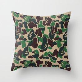 Bape Green Camo Throw Pillow