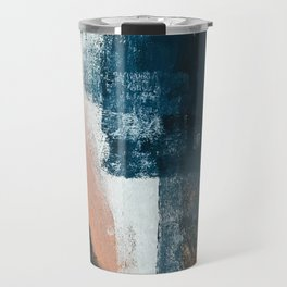 Vienna: a minimal, abstract mixed-media piece in pinks, blue, and white by Alyssa Hamilton Art Travel Mug