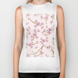 Spring Flowers - Pink Cherry Blossom Pattern Biker Tank