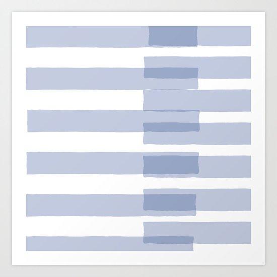 Big Stripes in Light Blue Art Print