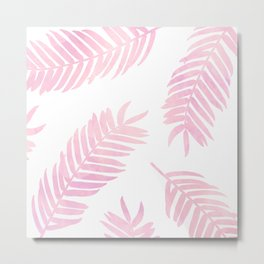 Pink Palm Leaves  |  White Background Metal Print