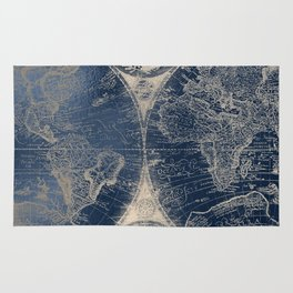 Antique World Map Gold Navy Blue Library Rug