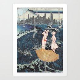 Tourists (After Hokusai) Art Print