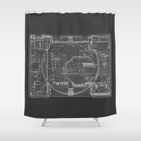 playstation Shower Curtains featuring PlayStation One  by Georg Bodenstein