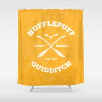 hufflepuff Shower Curtains featuring Hufflepuff Quidditch by Sharayah Mitchell