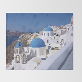 Oia Village in Santorini Throw Blanket