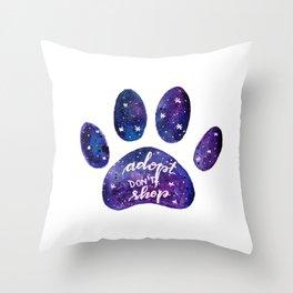 Adopt don't shop galaxy paw - purple Throw Pillow