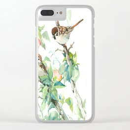 Sparrows And Apple Blossom, bird art Sage, teal green Vintage style floral bird art Clear iPhone Case