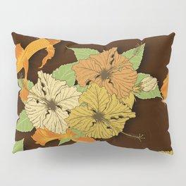 Night Time Goldfish Pond With Hibiscus Pattern Pillow Sham