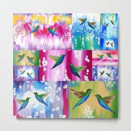 Hummingbird Cushion Metal Print