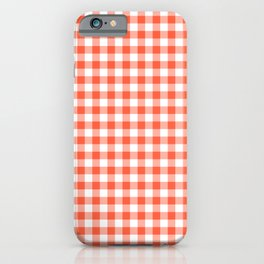 Living Coral Color of the Year Orange and White Buffalo Check Plaid iPhone Case