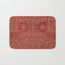 Bohemian Medallion II // 15th Century Old Distressed Red Green Colorful Ornate Accent Rug Pattern Bath Mat