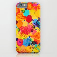 TIME FOR BUBBLY 2 - Fun Fiery Orange Red Whimsical Bubbles Bright Colorful Abstract Acrylic Painting iPhone 6s Slim Case