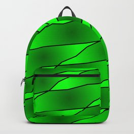 Slanting iridescent lines and rhombuses on green with intersection of glare. Backpack