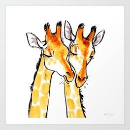 Giraffe Snuggles Art Print