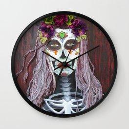 Samhain Parade Catrina by eileenaart Wall Clock