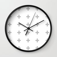 gray pattern Wall Clocks featuring +++ (Gray) by N A T