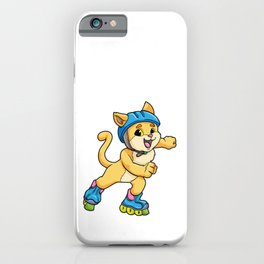 Cat as Inline skater with Inline skates and Helmet iPhone Case