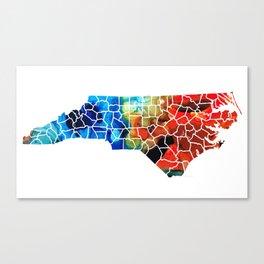 North Carolina - Colorful Wall Map by Sharon Cummings Canvas Print
