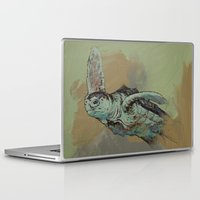 sea turtle Laptop & iPad Skins featuring Sea Turtle by Michael Creese