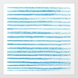 Blue crayon stripes pattern Art Print